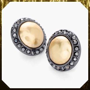 Chico's Poppy Hematite Gold Earrings